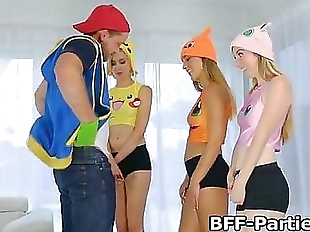 Fucking three blonde teen PokeHoes 7 min
