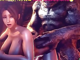 Monster with big tits girl, in porn game