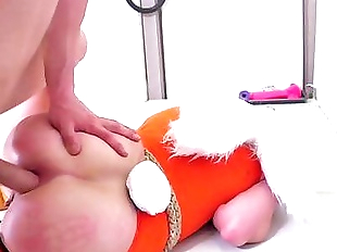 Submissive blonde bunny girls gets her asshole..