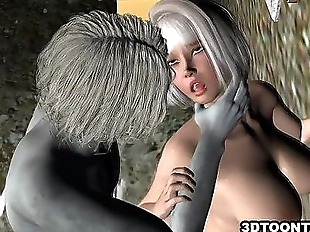 Sexy 3D cartoon babe getting fuckced by a zombie..